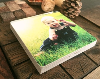 Personalised Wooden Photo Block Square or Rectangle Baby Birthday Wedding Cat Dog Present Gift