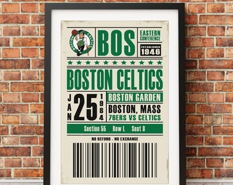 Boston Celtics Ticket Poster