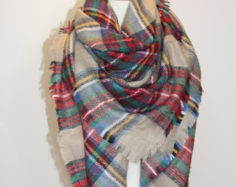 Sale!!New Plaid Blanket Oversized Tartan Scarf Wrap Shawl Multi Color–Green Camel Red Checked