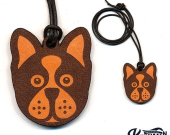 Laser Cut Leather Necklace and Keychain Boston Terrier