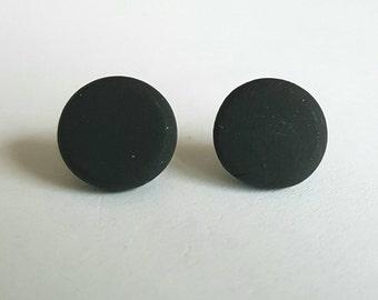 Black clay stud earrings.