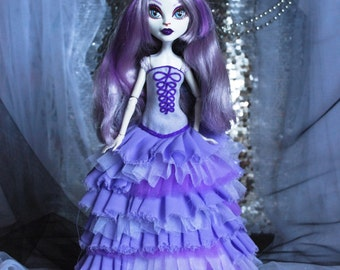 SALE Lilac dress decorated with embroidery for Monster high dolls