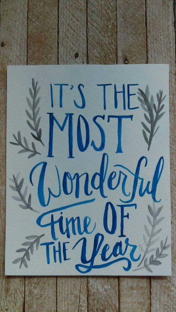 It's the most wonderful time of the year - Christmas watercolor 8X10 - blue and silver watercolor