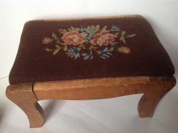 Antique Needlepoint Foot Stool Vintage Foot Rest Shabby Chic