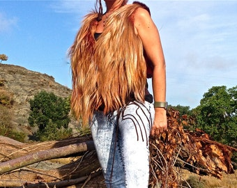 FREE SHIPPING!! 40% OFF!! Yack and rabbit leather vest, boho,hippie,chic,ethnic,chaleco de yack y conejo,étnico