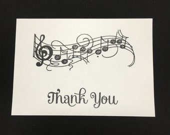 Music Notes - Note or Thank You cards - Can be personalized - Set of 10