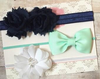Baby Girl Headbands, Shabby and Chic Headbands, Newborn Headbands, Navy Blue, White, seafoam headbands, Gift Set, Baby Shower Gift