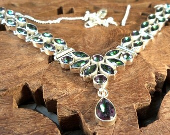 Art Deco Necklace Rainbow Topaz & Sterling Silver Women's Necklace