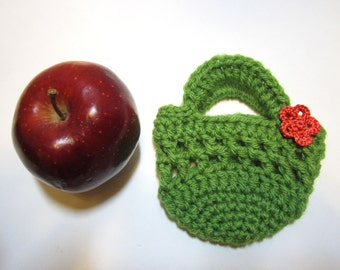 Green Apple Cozy - Small Crochet Bag - Handmade Fruit Cozy - Apple Jacket - Fruit Pouch - School Lunch Cozy - Boho Crochet Bag - Apple Cosy