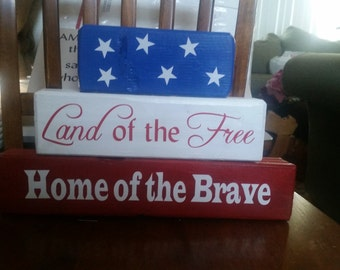Land of The Free Home of the Brave Wooden Blocks Home Decor