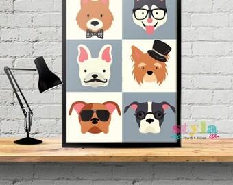 Cute Dogs Dress Up Nursery/Kids Room Wall Print
