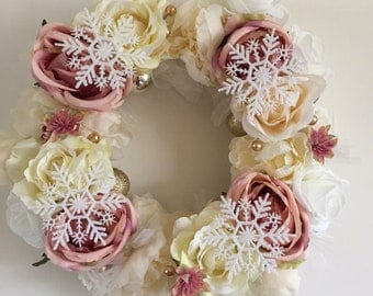 Pink shabby chic floral and bauble wreath