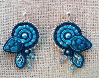 EARRINGS GRACE, soutache earrings, cabochonmania,light blue/blue,made in Italy, handmade jewelry,elegant earrings,fashionable earrings,waves