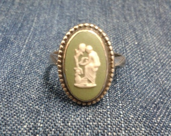 Rare Vintage Sterling Silver Wedgwood Ring