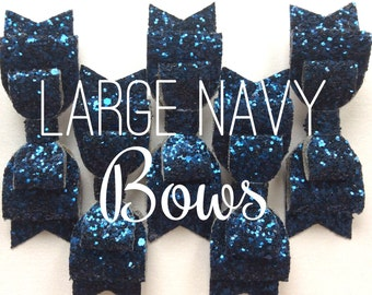 large navy chunky glitter double layered hair bow clip, girls accessories bridal