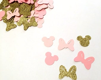 Pink and Gold Minnie Mouse Inspired Confetti - Bows - Minnie Mouse cutouts - pink and gold party/ disney confetti