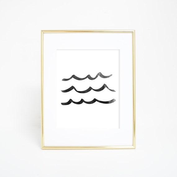 Watercolor Art Print, Black & White, Wave Print, Ocean Art, Ocean Wall Print, Sea Print, Sea Wall Print, Minimalist Print, Wall Decor