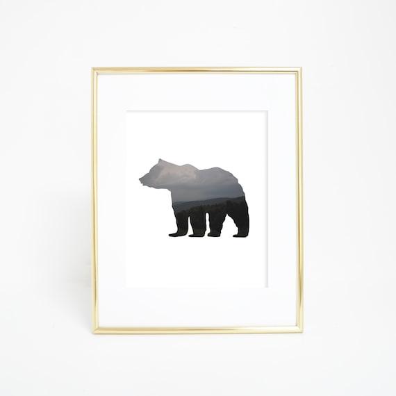 Bear Print, Bear Art, Printable Wall Art, Digital Print, Mountain Print, Bear Wall Print, Digital Wall Art, Woodland Decor, Nursery Decor