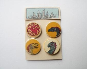 Game of Thrones pin badges Targaryen Shield and Daenerys's dragons