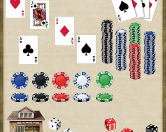 26 Casino Objects Dice Poker Chips Cards *Instant Download*