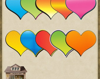 10 Brightly Coloured Comic PNG Hearts *Instant Download*