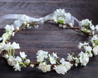 Spring Flower Crown, Boho Accessory, Halo, Bridal Crown, Spring Garden Wedding, Wedding hair crown, Flower girl, Spring blossoms crown