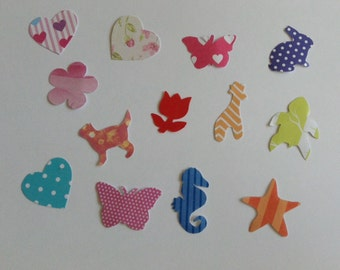 Mini paper shape cut outs, animal shapes, hearts, card making, scrapbooking, set of 13