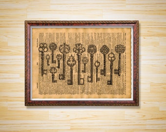 Skeleton Keys print Steampunk poster Old dictionary page