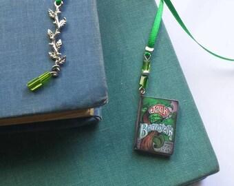 Jack and the beanstalk green ribbon bookmark book thong