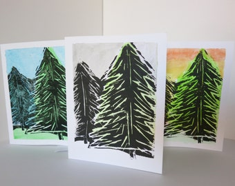 Set of 3 -- Hand Printed Cards & Envelopes -- Trees -- Blank inside