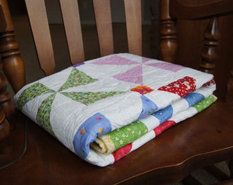 Whimsical Pinwheels in Squares – BABY QUILT – Multi-Colored