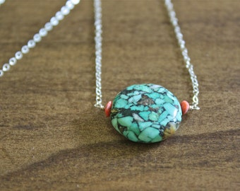 mosaic turquoise necklace coral turquoise necklace pendant necklace gold necklace silver necklace delicate necklace unique gift for her