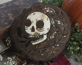 Skull and Leaves / Wood Burned Wall Hanging