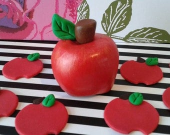Large Fondant edible APPLE Cake Topper and Apple Cupcake toppers, set of 12- Perfect for SNOW WHITE