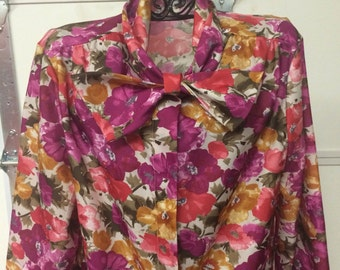 Vintage Floral Blouse by Laura Mae, size 14