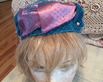 Vintage Lilac and Blue Hat