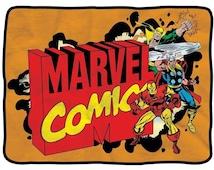 "Marvel Comics Logo and Character Burst Thor Iron man RETRO XL 60"" Fleece BLANKET"