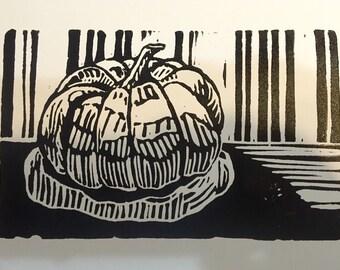 """Little Gourd (4"""" x 7"""" original hand-pulled linocut print)"""