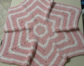 "Sale -Handmade Crochet Soft Star Crochet Girl Blanket. Size 40"" from point to point."