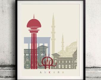Ankara skyline poster - Fine Art Print Landmarks skyline Poster Gift Illustration Artistic Colorful Landmarks - SKU 1949