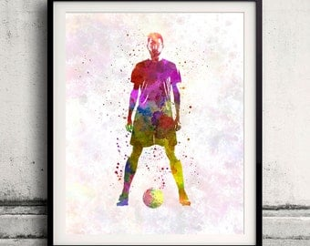 Man soccer football player 11 - poster watercolor wall art gift splatter sport soccer illustration print artistic - SKU 1455