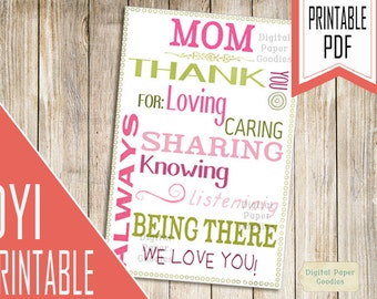 Mothers day card, PRINTABLE Card for mom, Mom card