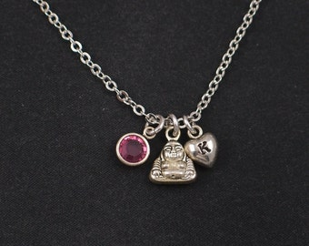 tiny Buddha necklace, initial necklace, birthstone necklace, Buddha charm choker, silver happy Buddha charm, spiritual, healing, meditation