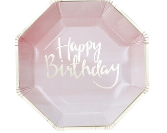 Plates | Pink & Gold  | Birthday | Party Plates | Pink 'Happy Birthday' Plates | Pink Party Plates | Gold Foiled Plates | Happy Birthday