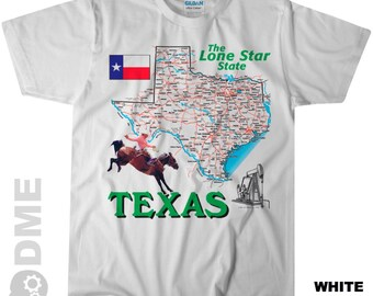 TEXAS The Lone Star State Road Map Souvenir T Shirt