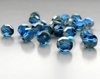25 Midnight Dreams Czech Rounds, 6mm, Faceted, Rounds, Czech Beads, Midnight Dreams,  Bead Supplies, Jewelry Supplies,