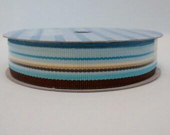 Blue and brown stripe pattern ribbon 2.7 meters/9 feet destash hair clip centre ribbon decorative ribbon