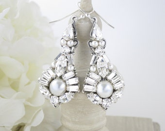 Swarovski rhinestone and pearl chandelier, Crystal and pearl bridal earring, Art Deco wedding earring