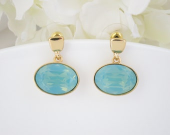 Swarovski gold post earring, Pacific opal and gold earring