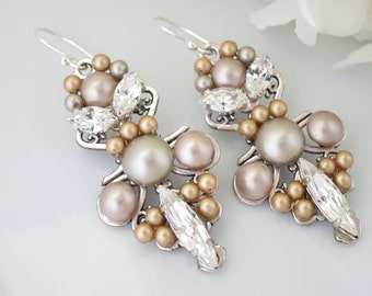 Swarovski crystal and pearl chandelier earring, Taupe bridal earring, Rhinestone and pearl wedding earring